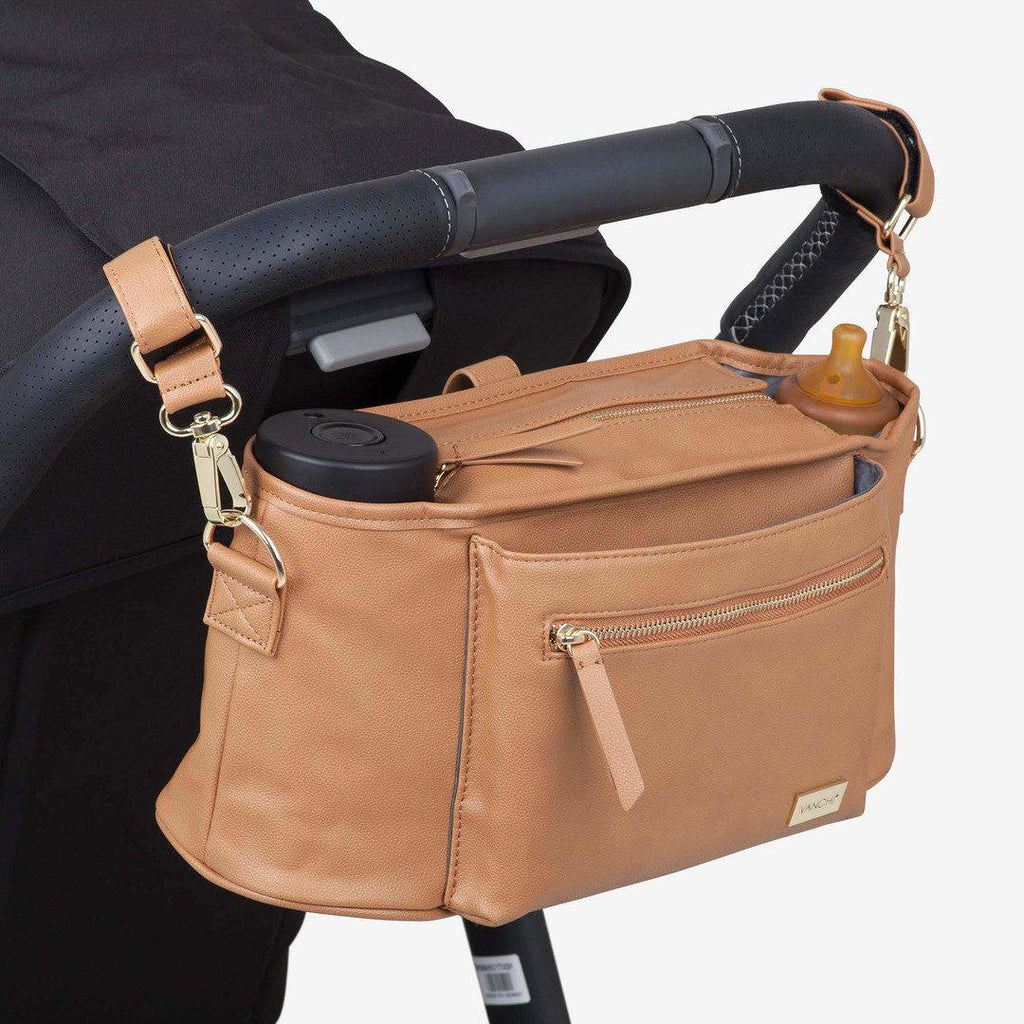 pram caddy + bag pram clips | leatherette | camel - MUMMA + BUBBA COLLECTIVE