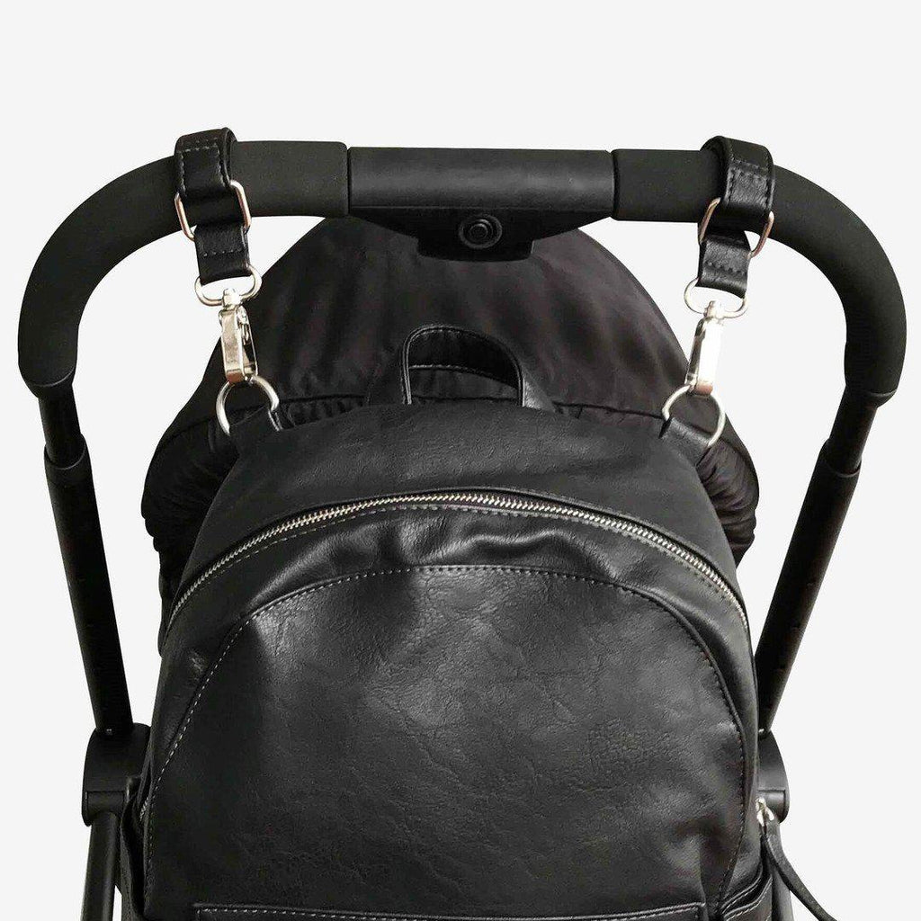 pram caddy + bag pram clips | leatherette | black - MUMMA + BUBBA COLLECTIVE