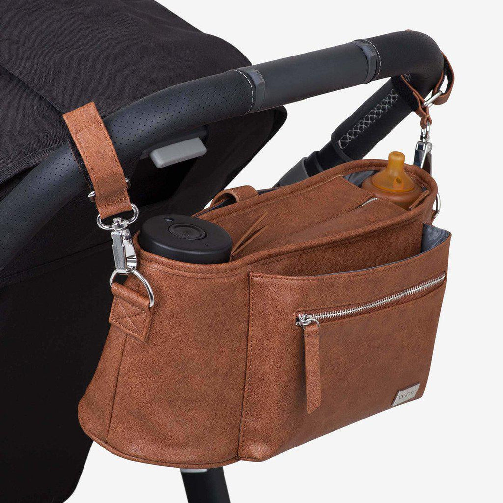pram caddy + bag pram clips | leatherette | tan - MUMMA + BUBBA COLLECTIVE