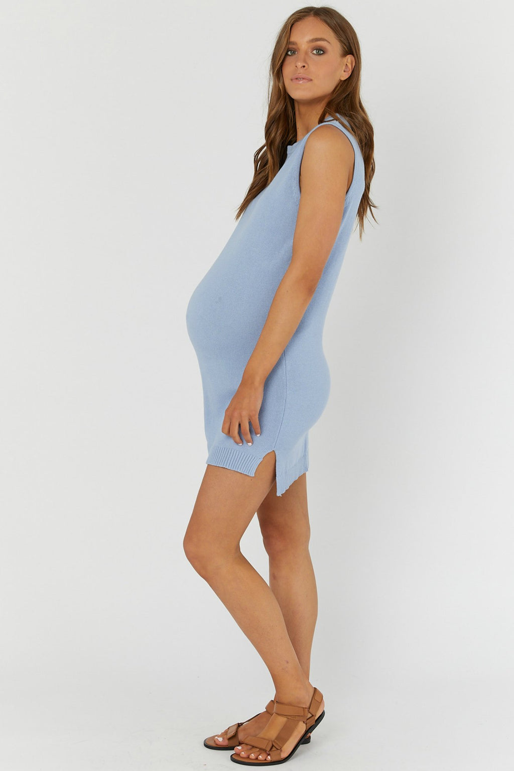 maternity + nursing dress| shift knit dress | arctic blue - MUMMA + BUBBA COLLECTIVE
