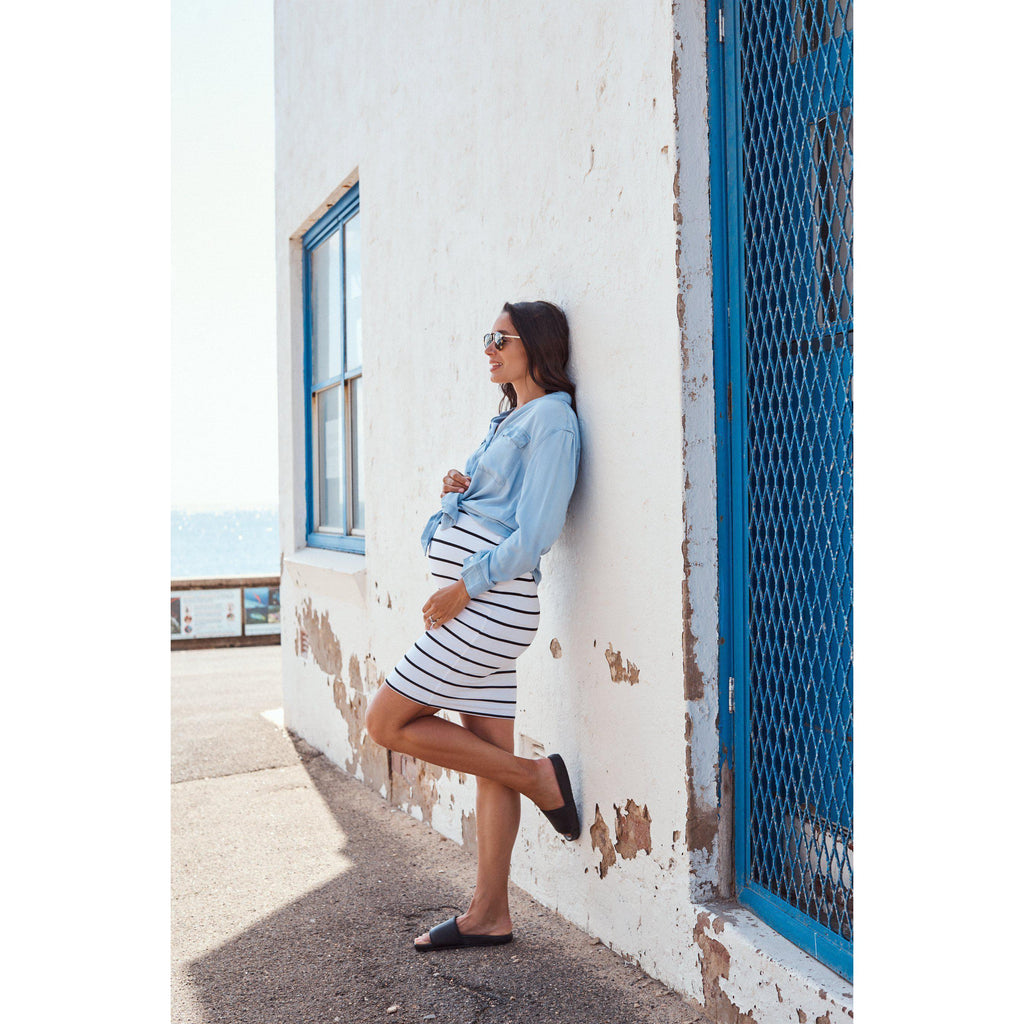 maternity skirt | downtown skirt | organic cotton | stripes - MUMMA + BUBBA COLLECTIVE