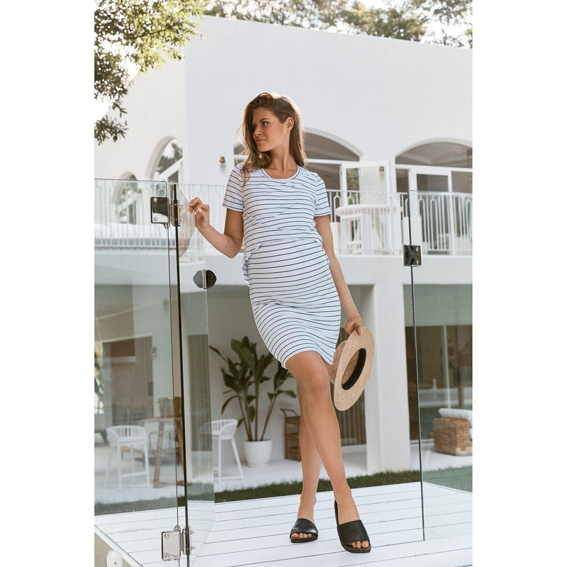 maternity + nursing dress | solitude tee dress | black + white stripe - MUMMA + BUBBA COLLECTIVE