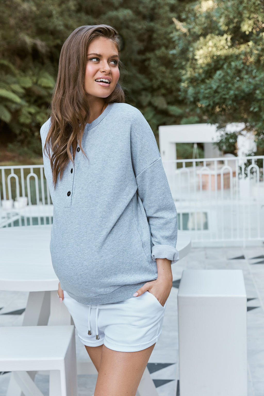 maternity shorts | jogger shorties | white - MUMMA + BUBBA COLLECTIVE