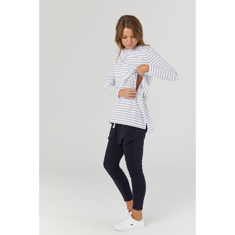 maternity + nursing top | solitude long sleeve | stripe - MUMMA + BUBBA COLLECTIVE
