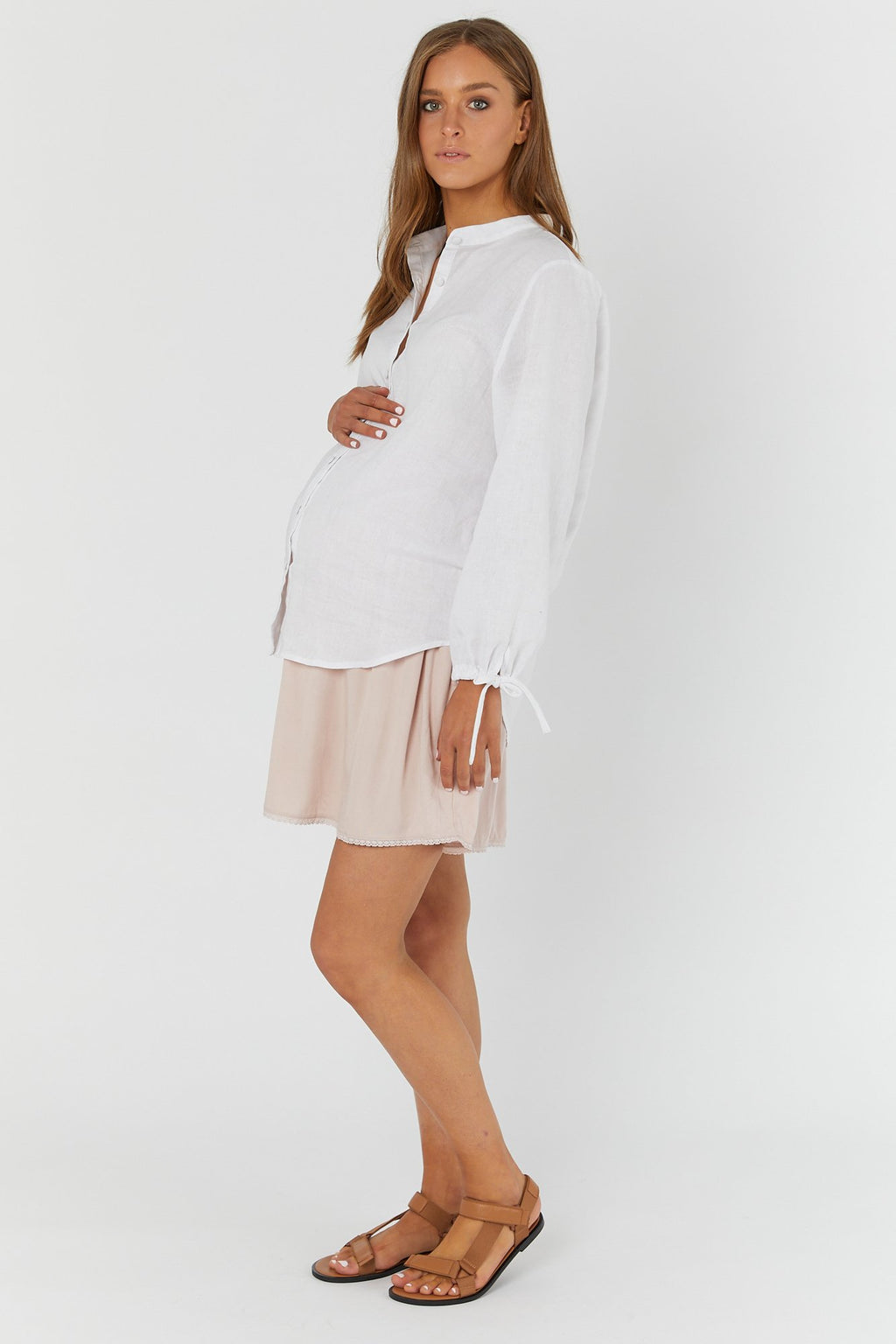 maternity + nursing shirt | the linen shirt | white - MUMMA + BUBBA COLLECTIVE