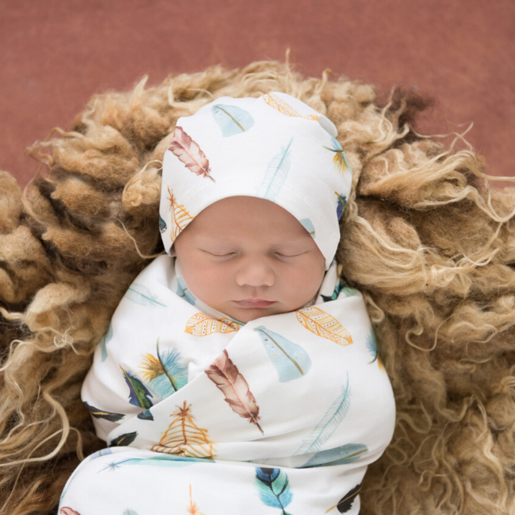 baby jersey wrap + knotted beanie set | dreamweaver - MUMMA + BUBBA COLLECTIVE