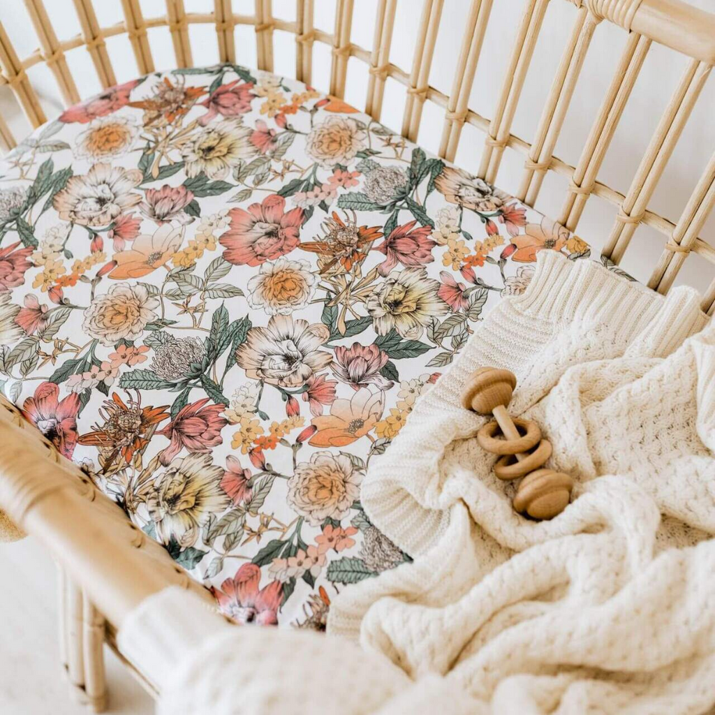 fitted bassinet sheet + change pad cover | australiana - Mumma + Bubba Collective.