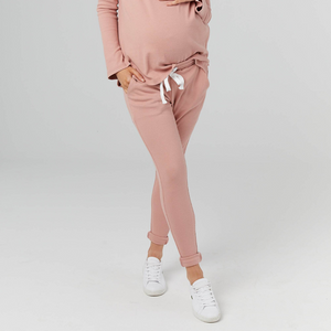 maternity ribbed jogger pants | rust - MUMMA + BUBBA COLLECTIVE