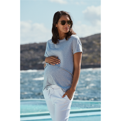 maternity + nursing tee | valance II  | grey marle - MUMMA + BUBBA COLLECTIVE