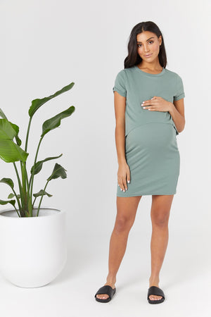 maternity + nursing dress | vaucluse tee dress | light army - MUMMA + BUBBA COLLECTIVE