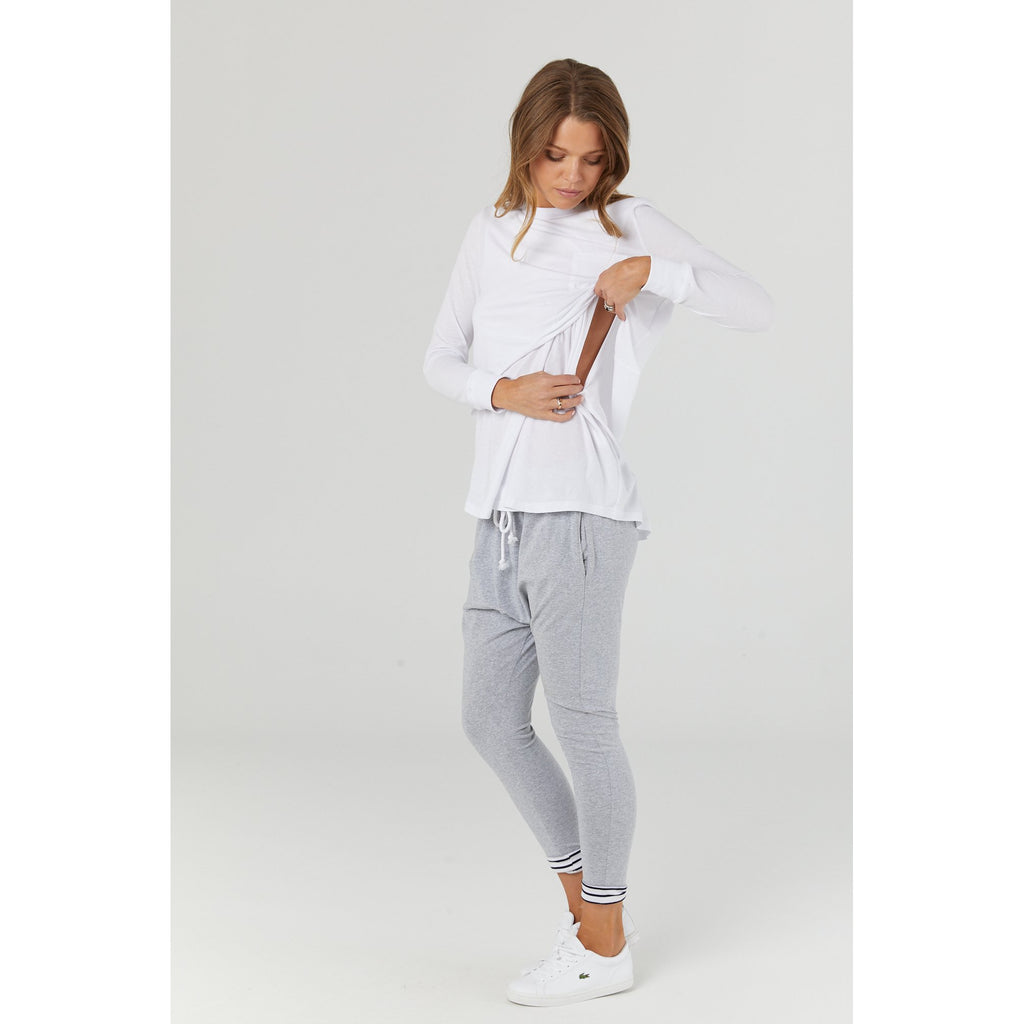 maternity + nursing top | worthington long sleeve | white - MUMMA + BUBBA COLLECTIVE