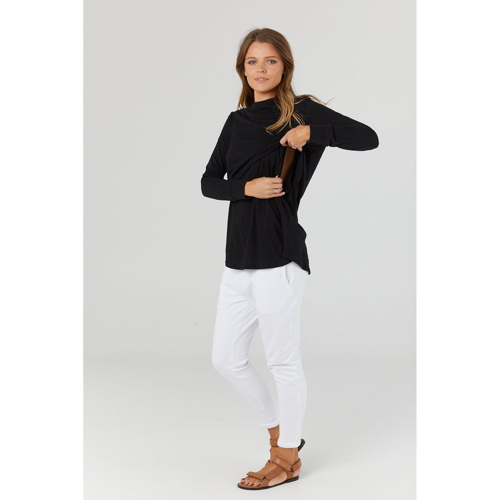 maternity + nursing top | worthington long sleeve | black - MUMMA + BUBBA COLLECTIVE