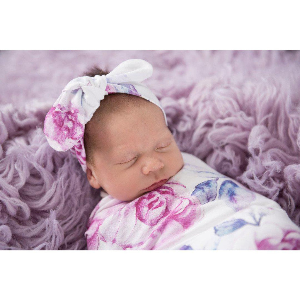baby jersey wrap + top knot set | lilac skies - MUMMA + BUBBA COLLECTIVE