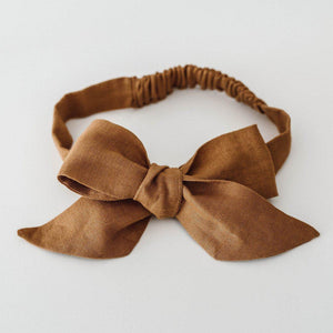 baby linen bow headband wrap | mustard - MUMMA + BUBBA COLLECTIVE