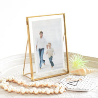 Geometric Metal Glass Photo Frame
