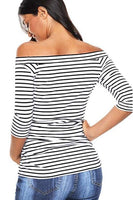 Maternity Tunic Tops Off Shoulder 3/4 Sleeve Classic