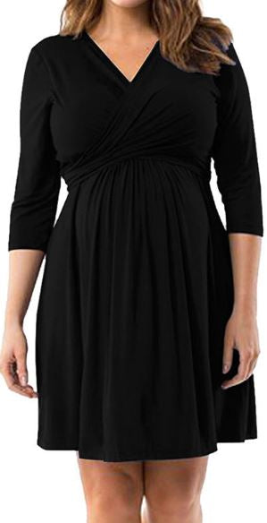 Slender Classic V-Neck Maternity Dress