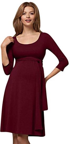 Ribbed Knee-Length Nursing Dress