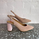 Hobby last Pair 37 Velour Nude Leather Sling Back Court Shoe