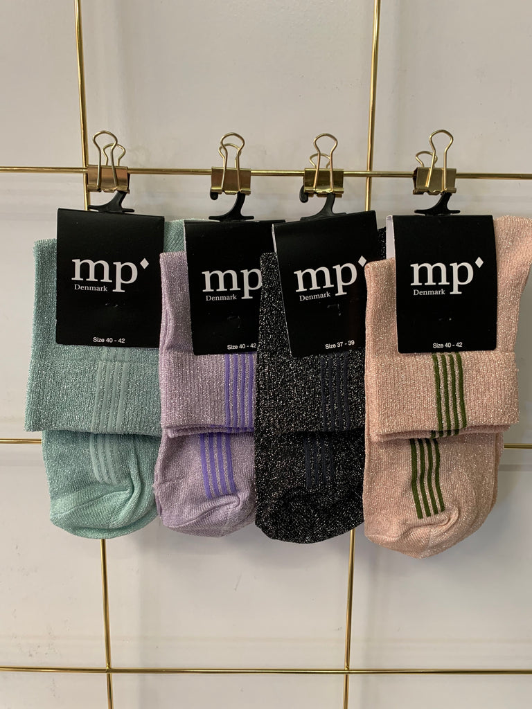 MP Striped Glitter Sock Mint with Strips