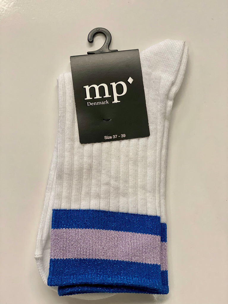 MP Ribbed Sock with Blue/Mauve