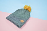 Antique Grey Beanie · Mustard Pompom