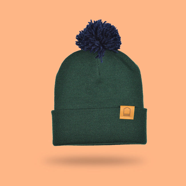 Green Bottle Beanie · Navy Pompom