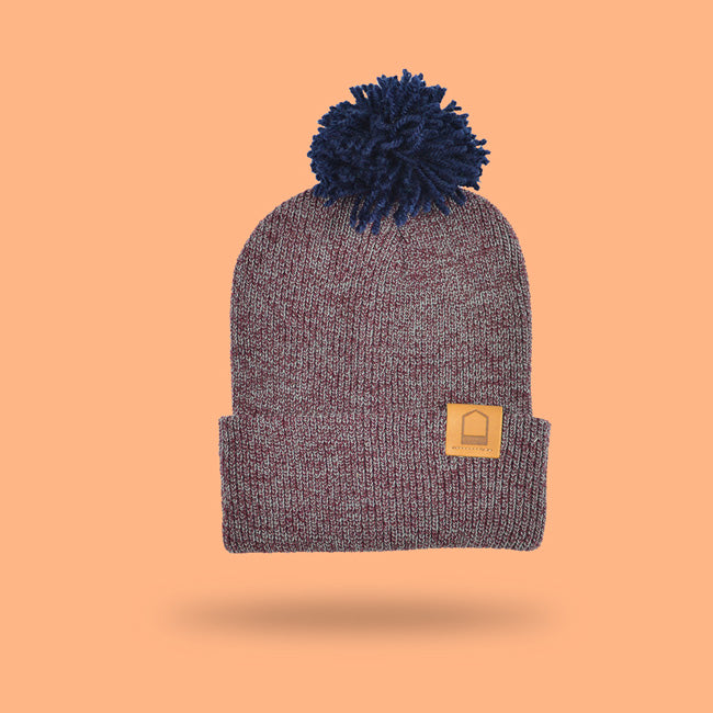 Heather Burgundy Beanie · Navy Pompom