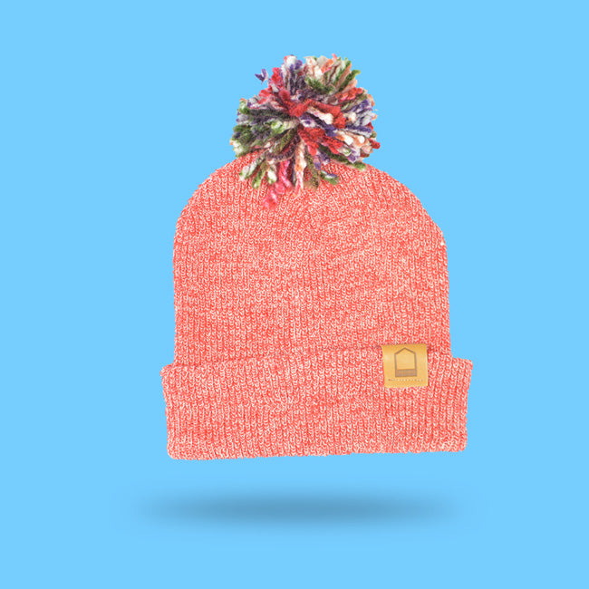 Heather Red Beanie · Multicolor Pompom