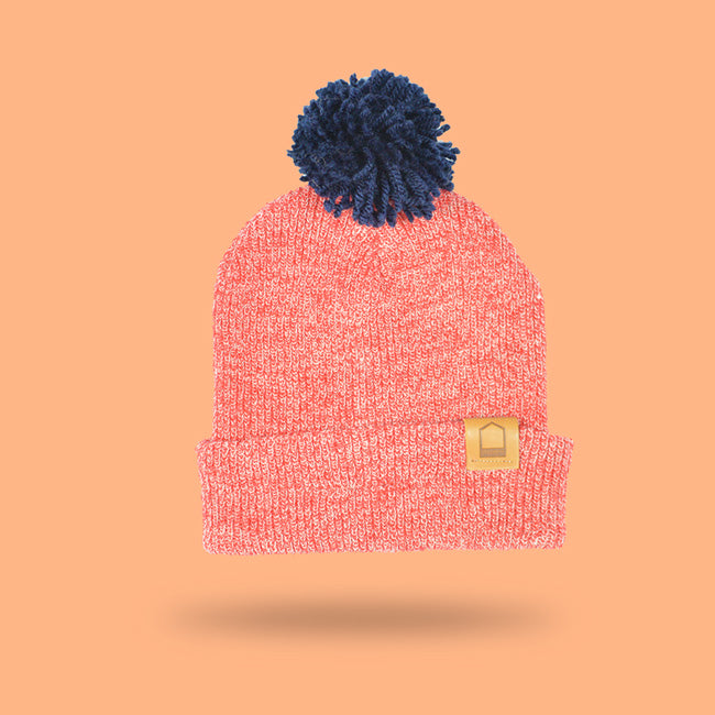Heather Red Beanie · Navy Pompom