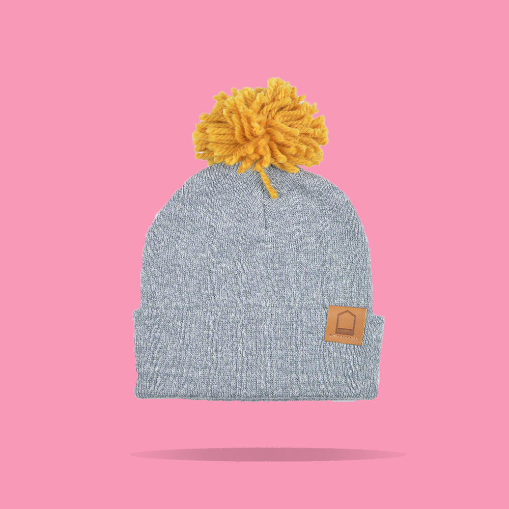 Heather Grey Beanie · Mustard Pompom