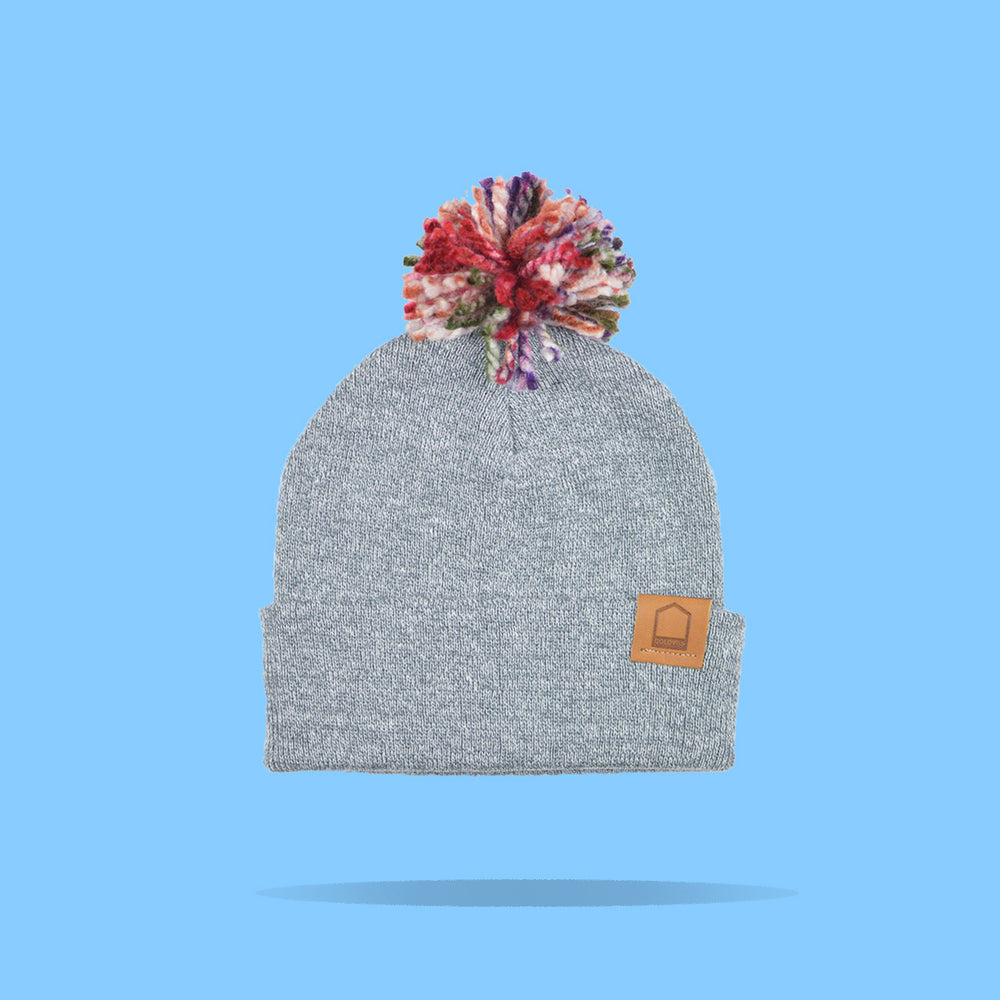 Heather Grey Beanie · Multicolor Pompom