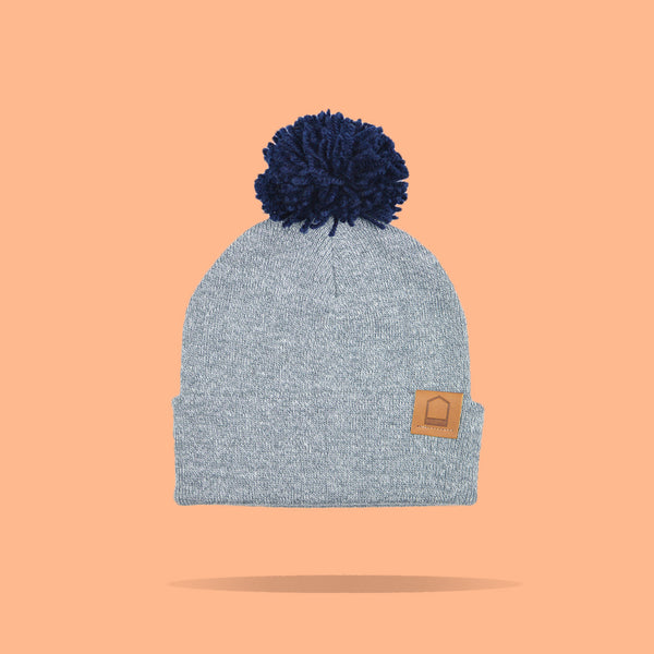 Heather Grey Beanie · Navy Pompom