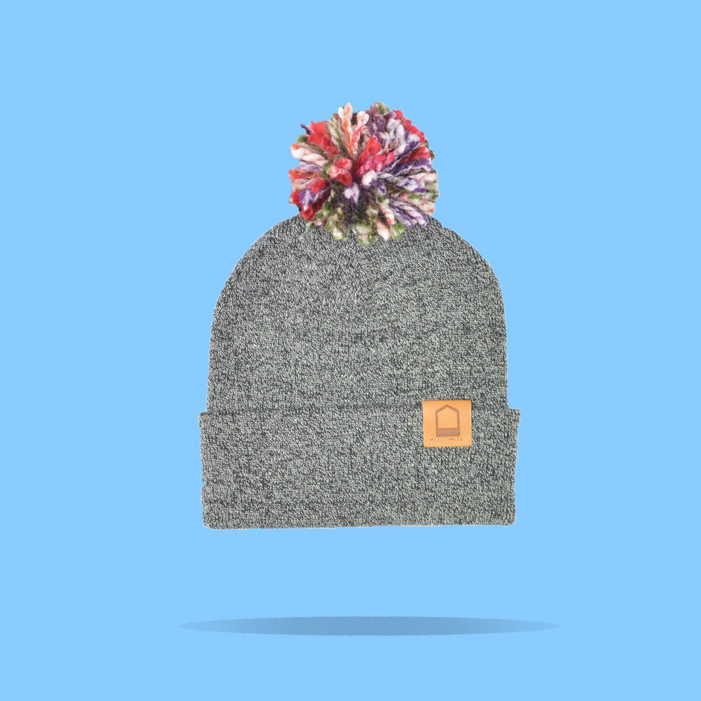 Antique Grey Beanie · Multicolor Pompom