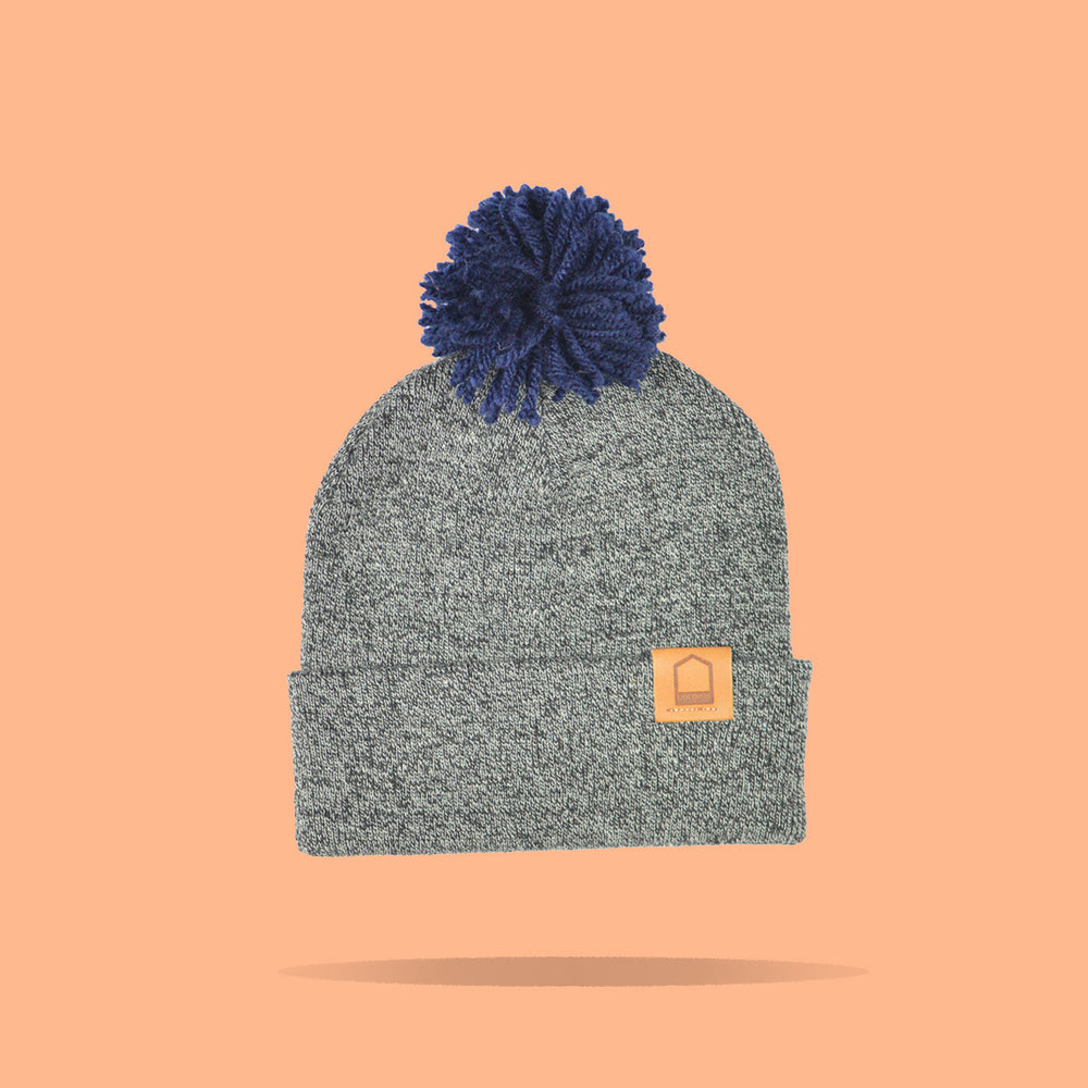 Antique Grey Beanie · Navy Pompom