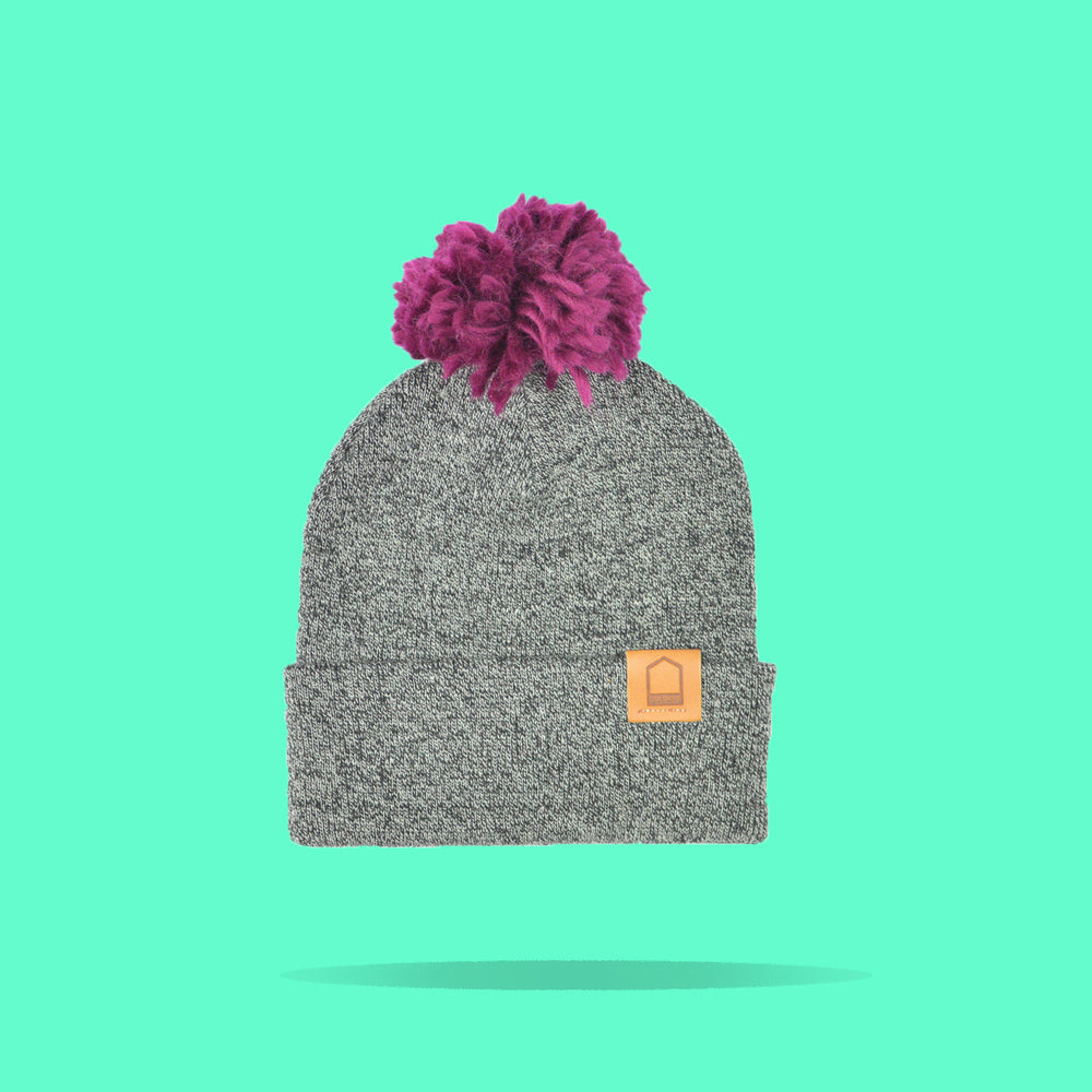Antique Grey Beanie · Wine Pompom