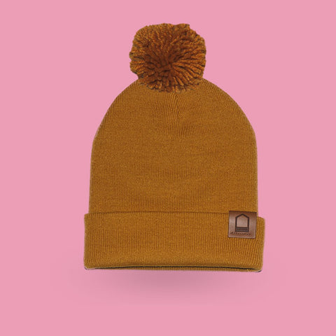 Heather mustard beanie