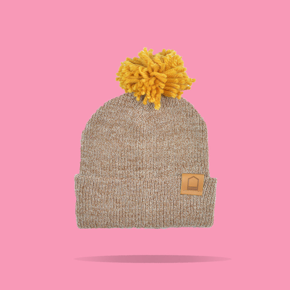 Heather Brown Beanie · Mustard Pompom