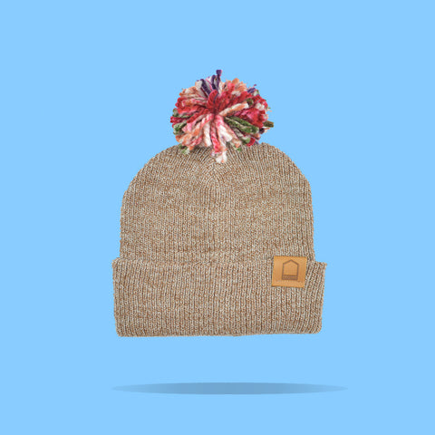 Heather Brown Beanie · Multicolor Pompom