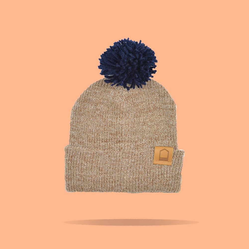 Heather Brown Beanie · Navy Pompom