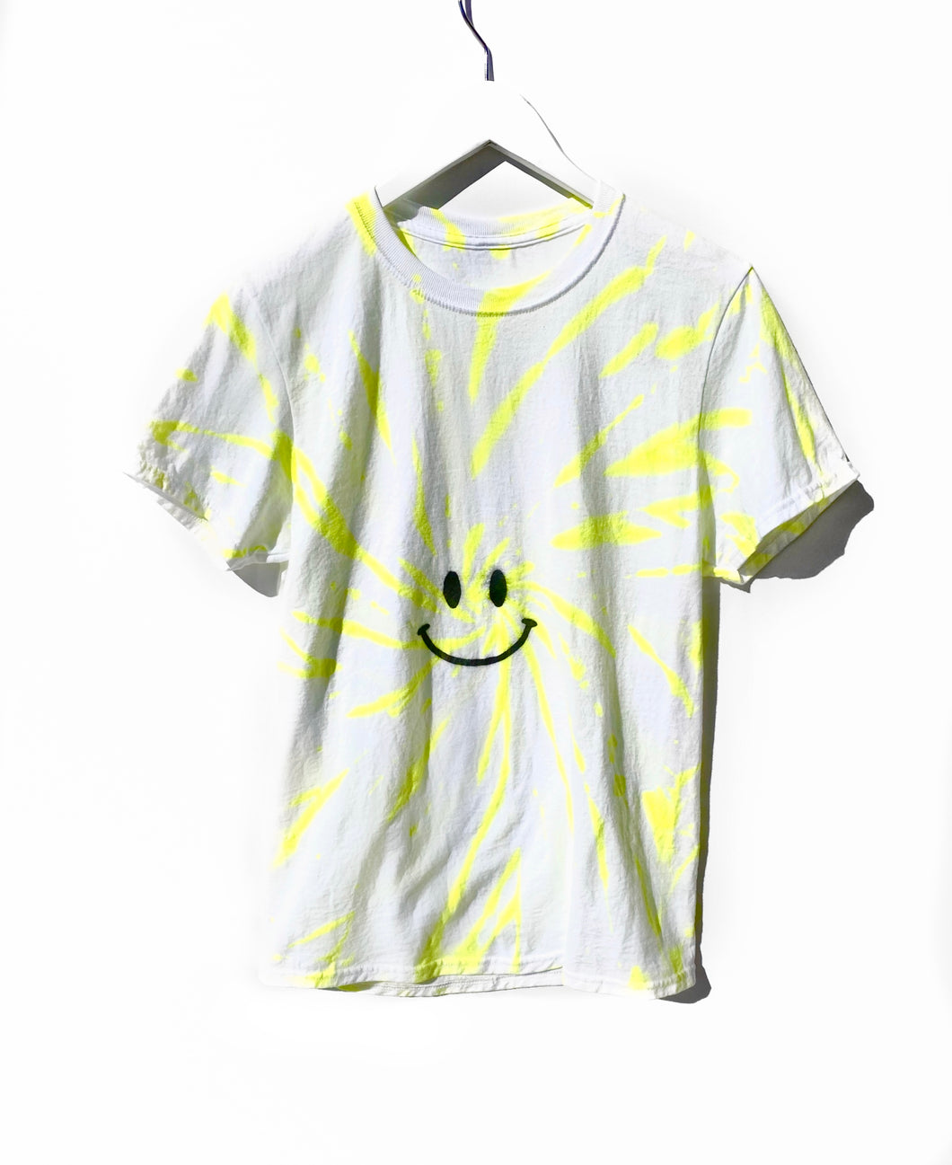 Crew T-Shirt / Neon Yellow Happy Face