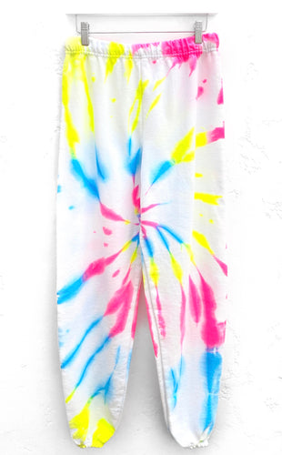 Tie-Dyed Joggers / Neon Cyclone