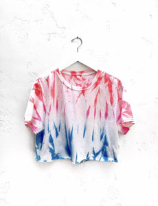 Myrrhe Ice Pop Cropped Tee in Blue and Red