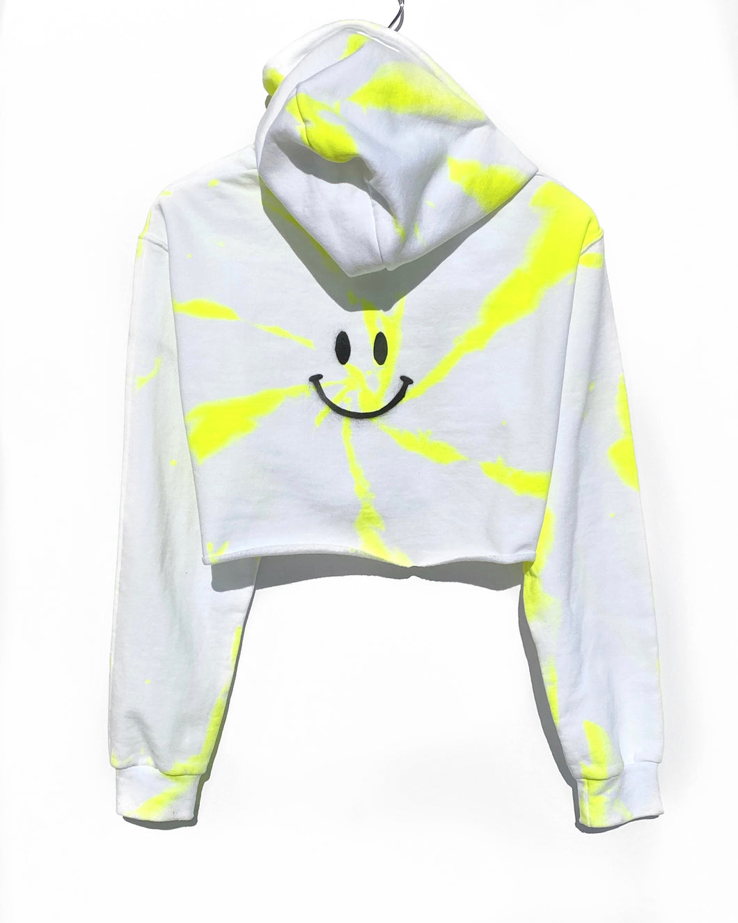 Cropped Hoodie / Neon Happy Face