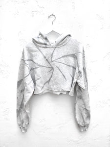 Tie-Dyed Cropped Hoodie / Silver Grey