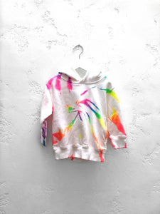Custom Youth Tie-Dyed Pocket Hoodie / Neon Rainbow