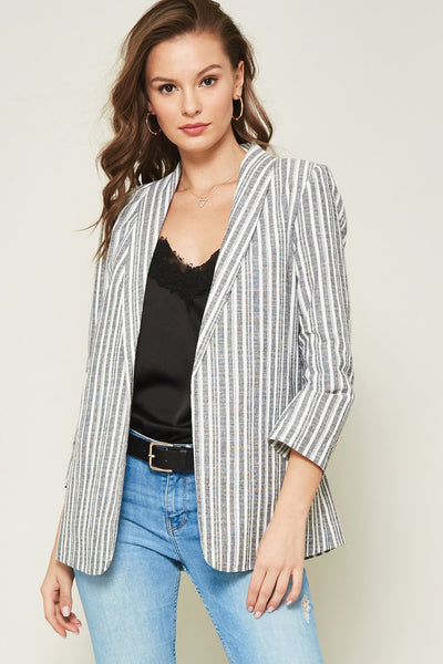 Striped Chambray Blazer