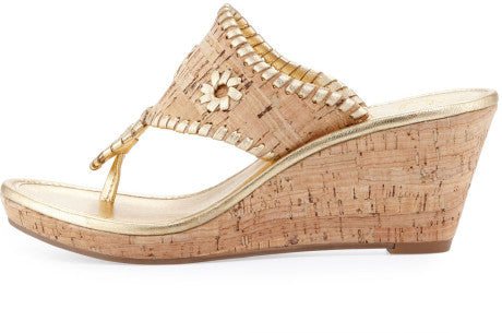 Jack Rogers Marbella Mid Wedge Cork/Gold