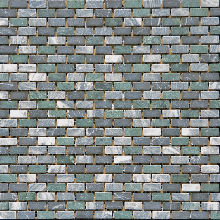 Mosaikfliese Brick Jade/Black/Green