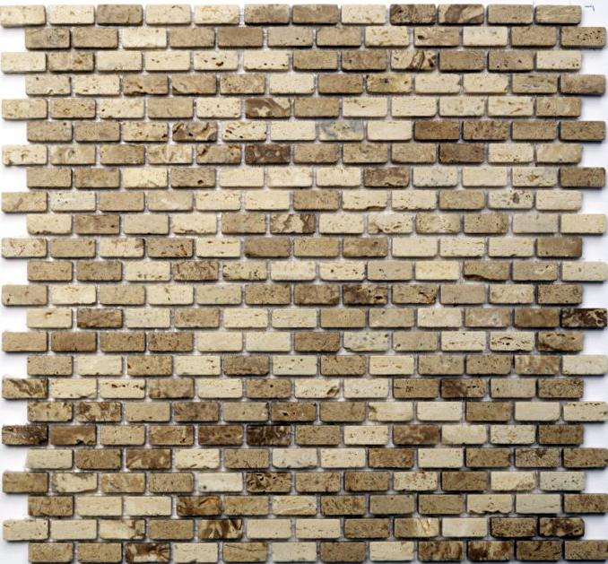 Mosaikfliese Brick Travertino Noce/Classic